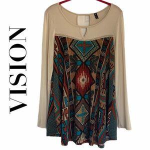 VISION Aztec Print Long Sleeve Top   Medium